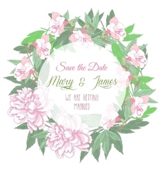 Wedding wreath with two pink peonies and flowers vector