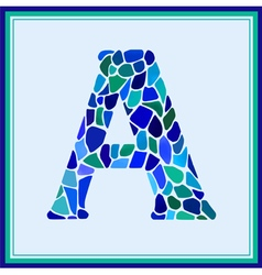A - letter - green watercolor mosaic vector