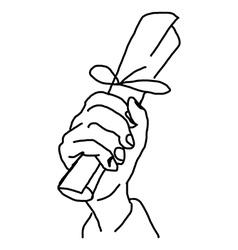 Hand drawn doodles of hand holding paper roll vector