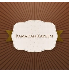 Ramadan kareem paper emblem with text and ribbon vector