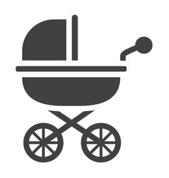 baby carriage solid icon pram and pushchair vector image vector image