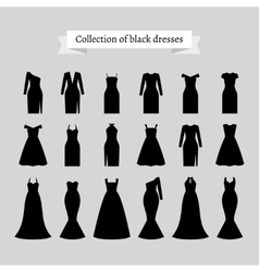 Black retro dresses silhouettes vector image