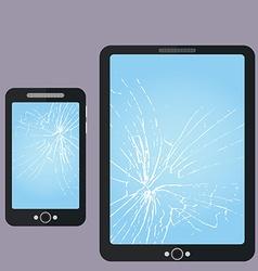 Broken phone tablet-pc screen repair vector