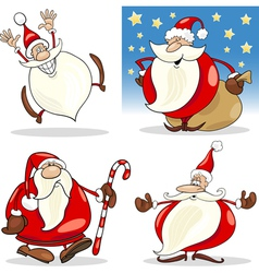 Cartoon Christmas Santa Clauses Set vector image vector image