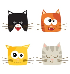Cat emotions composite isolated on white backgroun vector