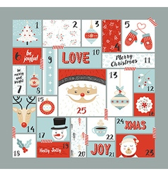 Christmas advent calendar cute decoration elements vector image