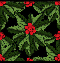 christmas mistletoe pattern vector image vector image