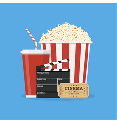 clapperboard and popcorn and ticket movie vector image vector image
