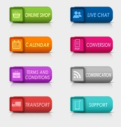 Colored set rectangular square web buttons vector