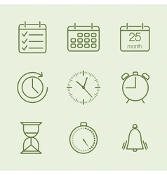 Contoured time and calendar icons vector image vector image