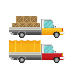 delivery truck with wooden boxes and truck with vector image vector image