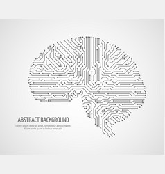 Digital human brain with computer circuit board vector