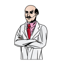 Doctor male bald glasses with arms folded vector