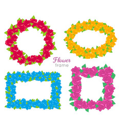 Flower frame wreath sets of various blossoms vector