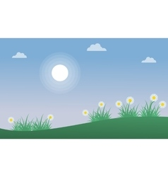 Flower on the hill at spring landscape vector