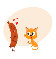 funny red cat kitten character looking heartily vector image vector image