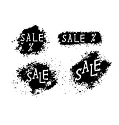 Grunge sale banners with black splashes vector