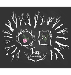 Hand drawn vintage tree branches rustic vector