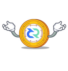 Hand up decred coin character cartoon vector
