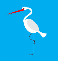 Heron isolated bird with long legs and beak vector