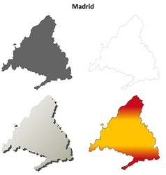 Madrid blank detailed outline map set vector image vector image