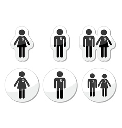 Man and woman people with awareness ribbons icons vector image