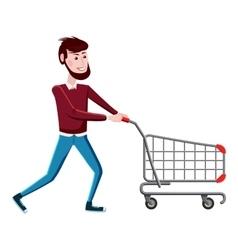 Man with shopping cart icon cartoon style vector