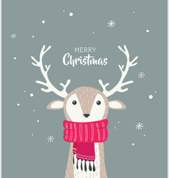 Merry christmas card with cute dear wearing a vector
