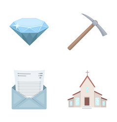 Mine mail and other web icon in cartoon style vector