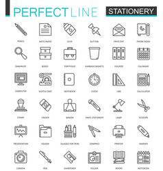 Office stationery thin line web icons set outline vector