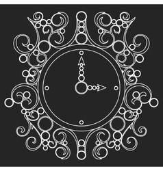 Old vintage clock on black background vector