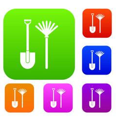 Rake and shovel set collection vector