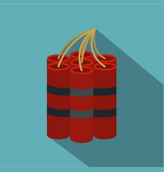 Red dynamite sticks icon flat style vector