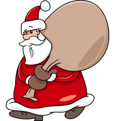 Santa with sack on christmas vector