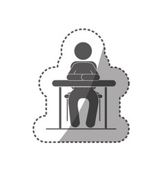 Sticker black silhouette pictogram sit in desk vector