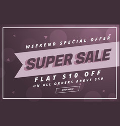 Super sale banner or voucher design template vector