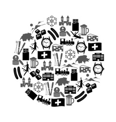 Switzerland country theme symbols icons in circle vector
