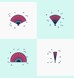 Thin line handheld fan icons opened half-opened vector