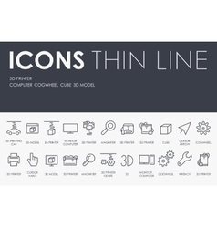 Three D Printer Thin Line Icons vector image vector image
