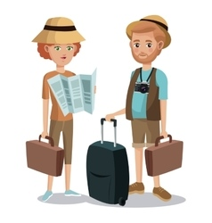 travel couple tourist vacation bag map vector image