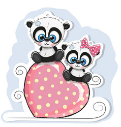two pandas is sitting on a heart vector image vector image