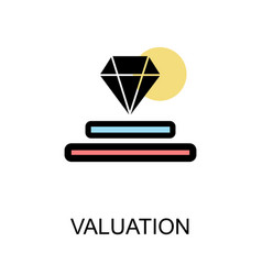 valuation icon with diamond on white background vector image vector image