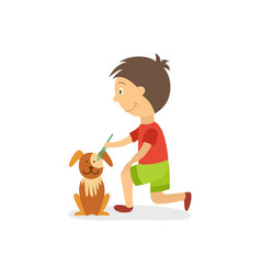 Vecotr flat boy combing out dog puppy vector