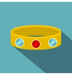 Vintage gold bangle icon flat style vector