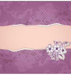 violet paper and flowers vector image vector image
