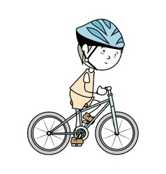 Boy cartoon bicycle isolated vector