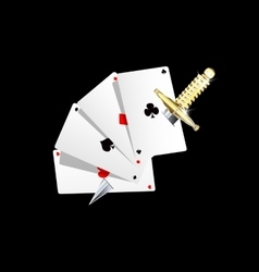 Cards and jewel knife vector