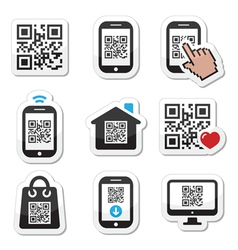 QR code on mobile or cell phone icons set vector image