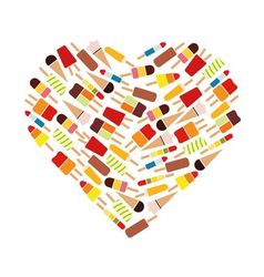popsicle collection in heart vector image