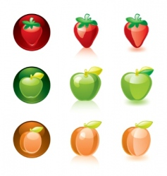 Strawberry apple apricot vector